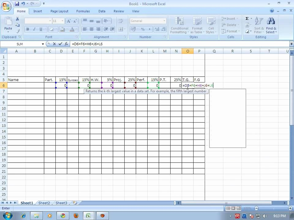 Excel Grade Sheet Template Lovely How to Make Grading Sheet Using Ms Excel 2007 Wmv