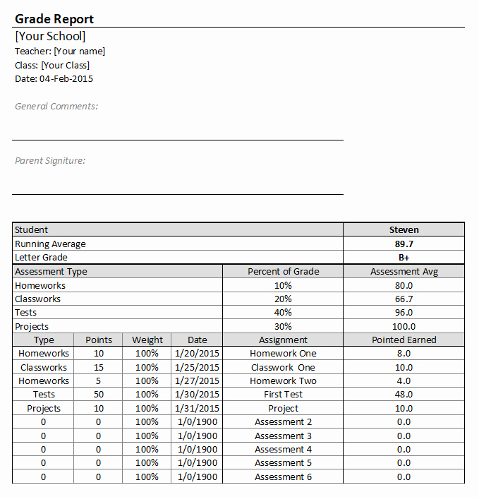 Excel Grade Sheet Template Luxury Best Free Excel Gradebook Templates for Teachers