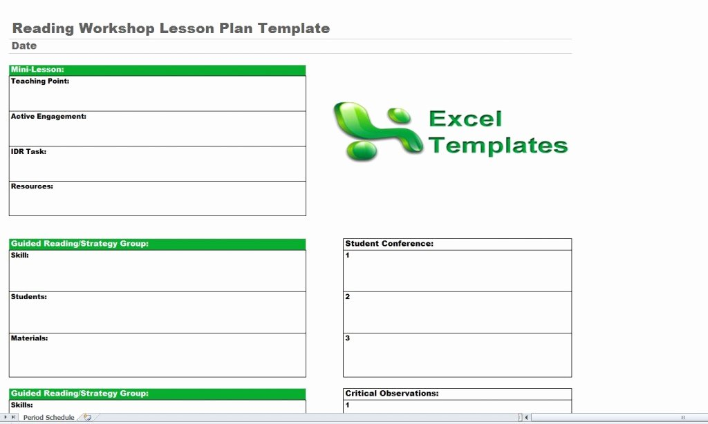Excel Lesson Plan Template Awesome Reading Lesson Plan Template