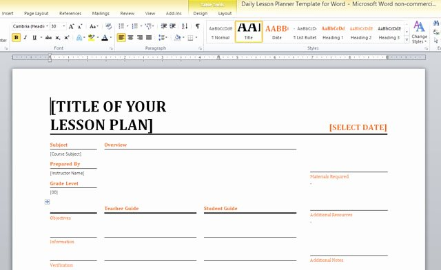 Excel Lesson Plan Template Elegant Daily Lesson Planner Template for Word
