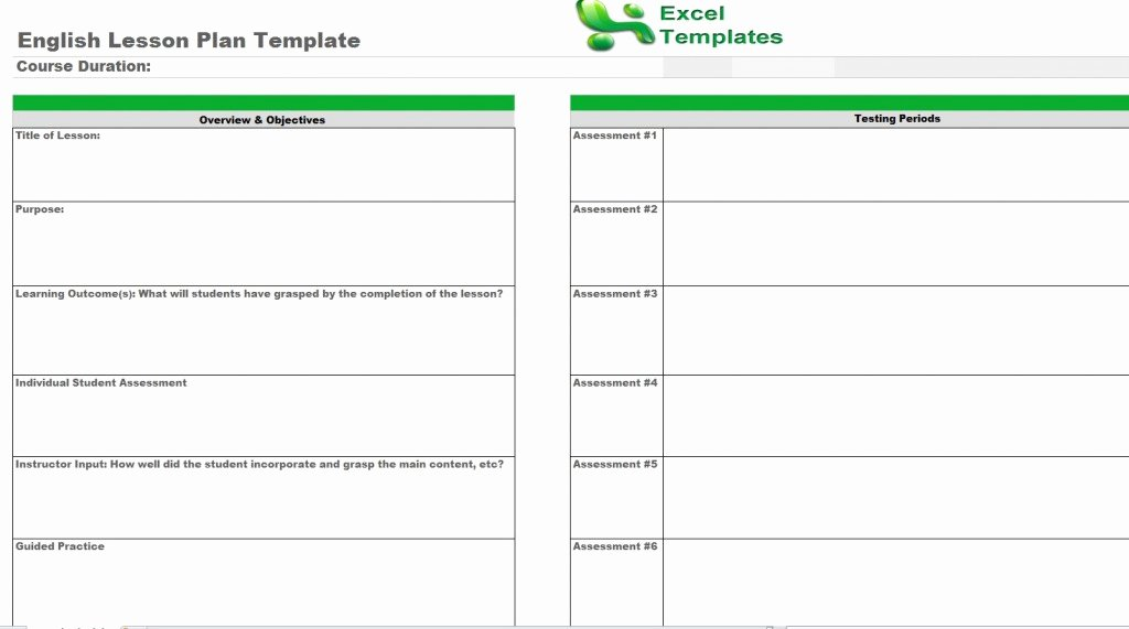Excel Lesson Plan Template Elegant English Lesson Plan Template