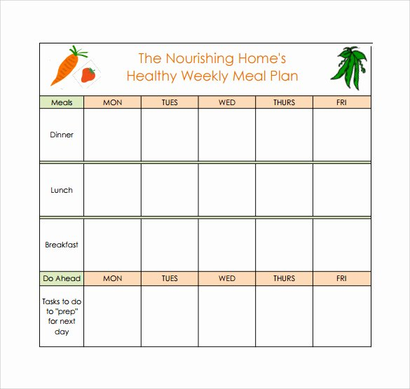 Excel Meal Plan Template Awesome Daily Meal Planner Template Excel 18 Meal Planning