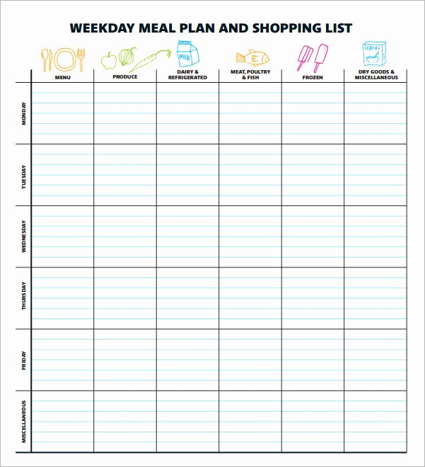 Excel Meal Plan Template Best Of 18 Meal Planning Templates Pdf Excel Word