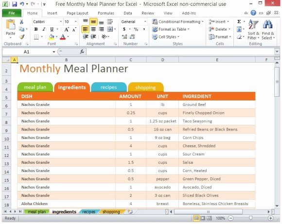Excel Meal Plan Template Best Of Free Monthly Meal Planner for Excel
