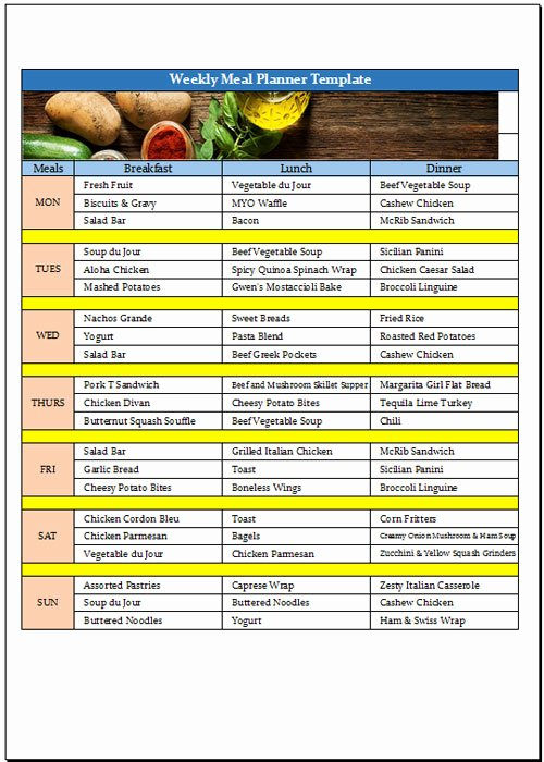 Excel Meal Plan Template Fresh Excel Meal Plan Template Filename