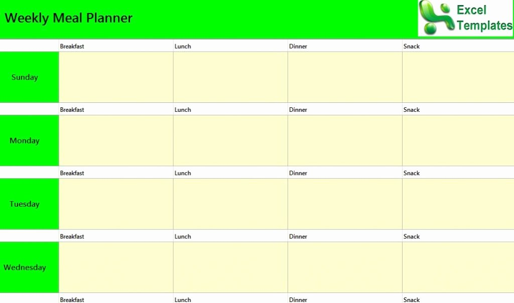 Excel Meal Plan Template Lovely Weekly Meal Planner Excel Template