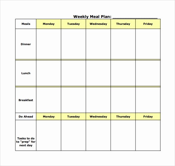 Excel Meal Plan Template Luxury 18 Meal Planning Templates Pdf Excel Word