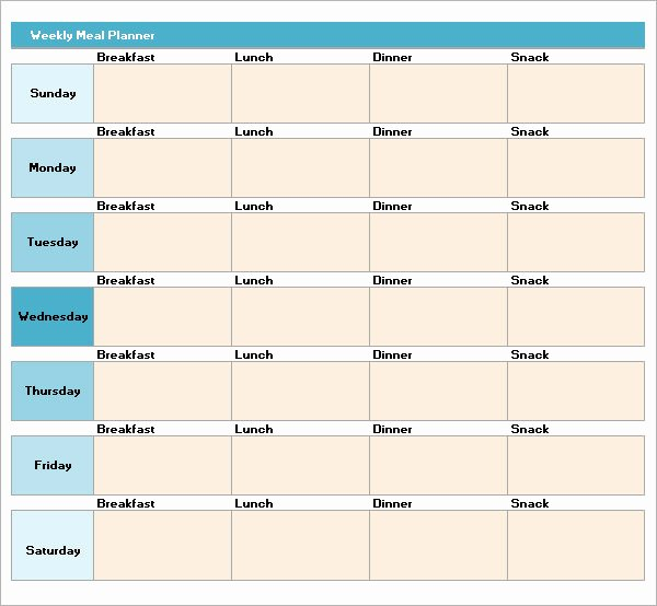 Excel Meal Plan Template New Meal Plan Template Excel