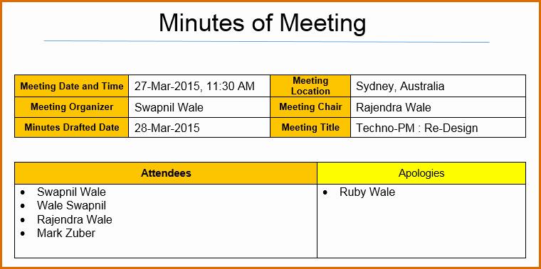 Excel Meeting Minutes Template Best Of 12 Meeting Minutes Template Excel