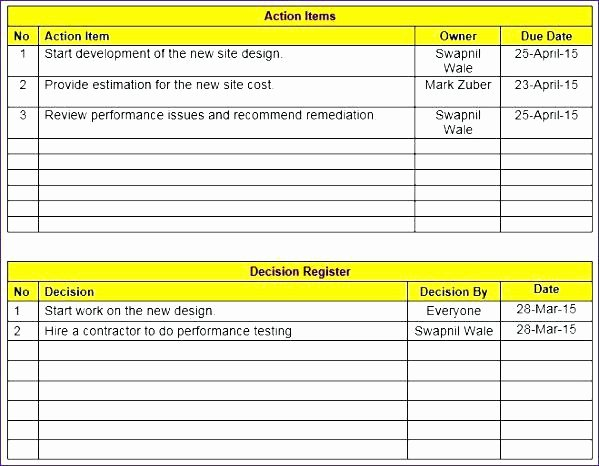 Excel Meeting Minutes Template Inspirational Meeting Minutes Template Excel Free Download Contractor