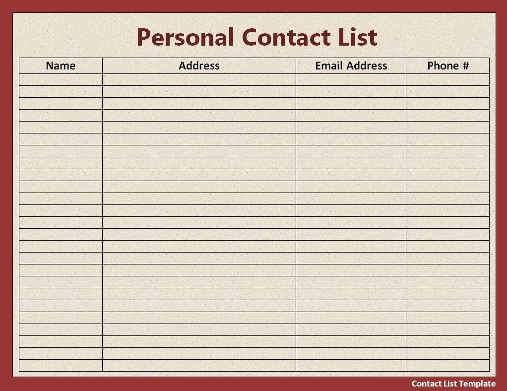 Excel Phone List Template Awesome Mailing List Template