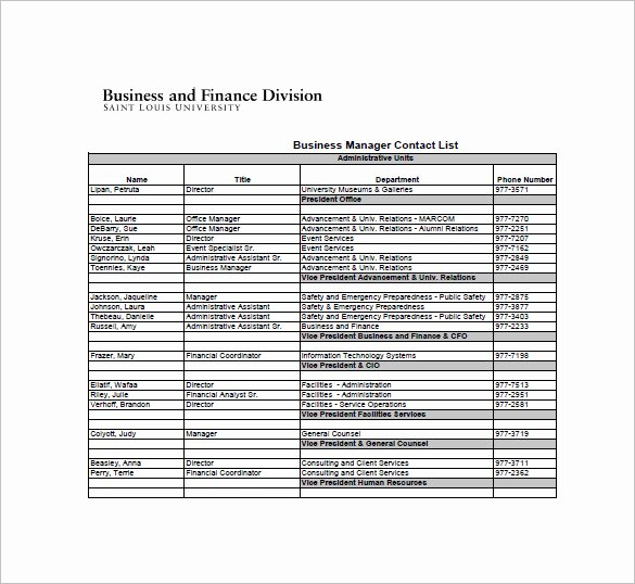 Excel Phone List Template Beautiful Contact List Template 10 Free Word Excel Pdf format