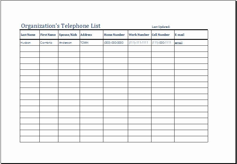 Excel Phone List Template New organization S Telephone List Template