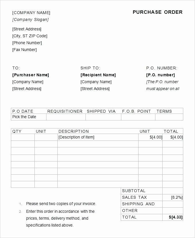 Excel Purchase order Template Beautiful Purchase order form Excel – Llibresub