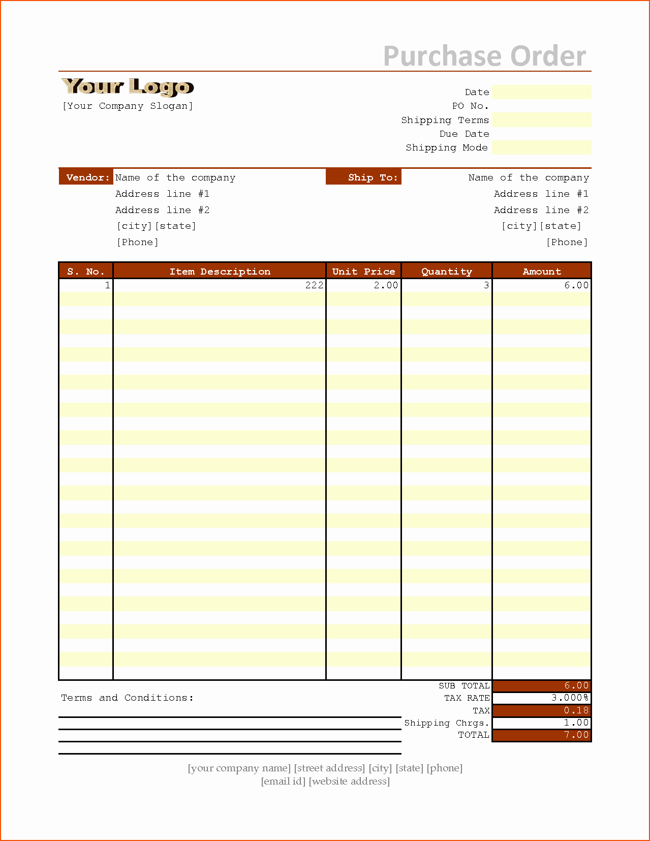 Excel Purchase order Template Fresh 6 Purchase order Template Excel Bookletemplate