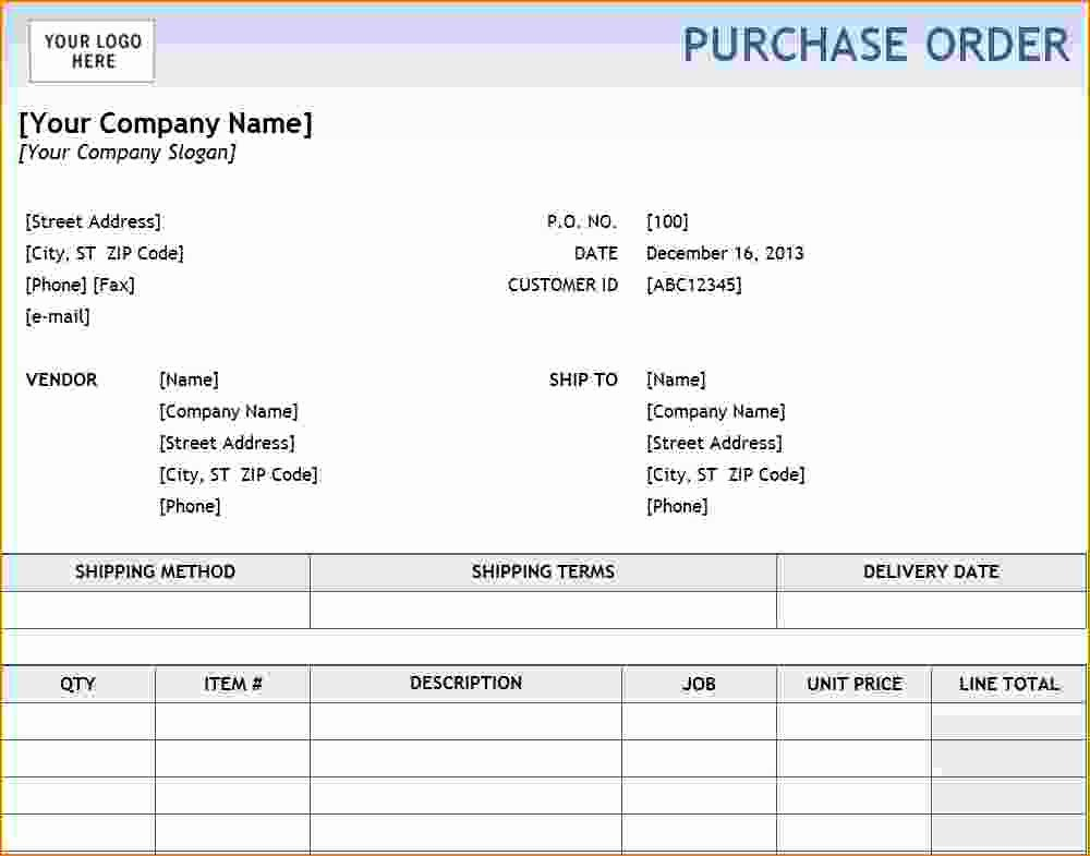 Excel Purchase order Template Inspirational 6 Excel Purchase order Template