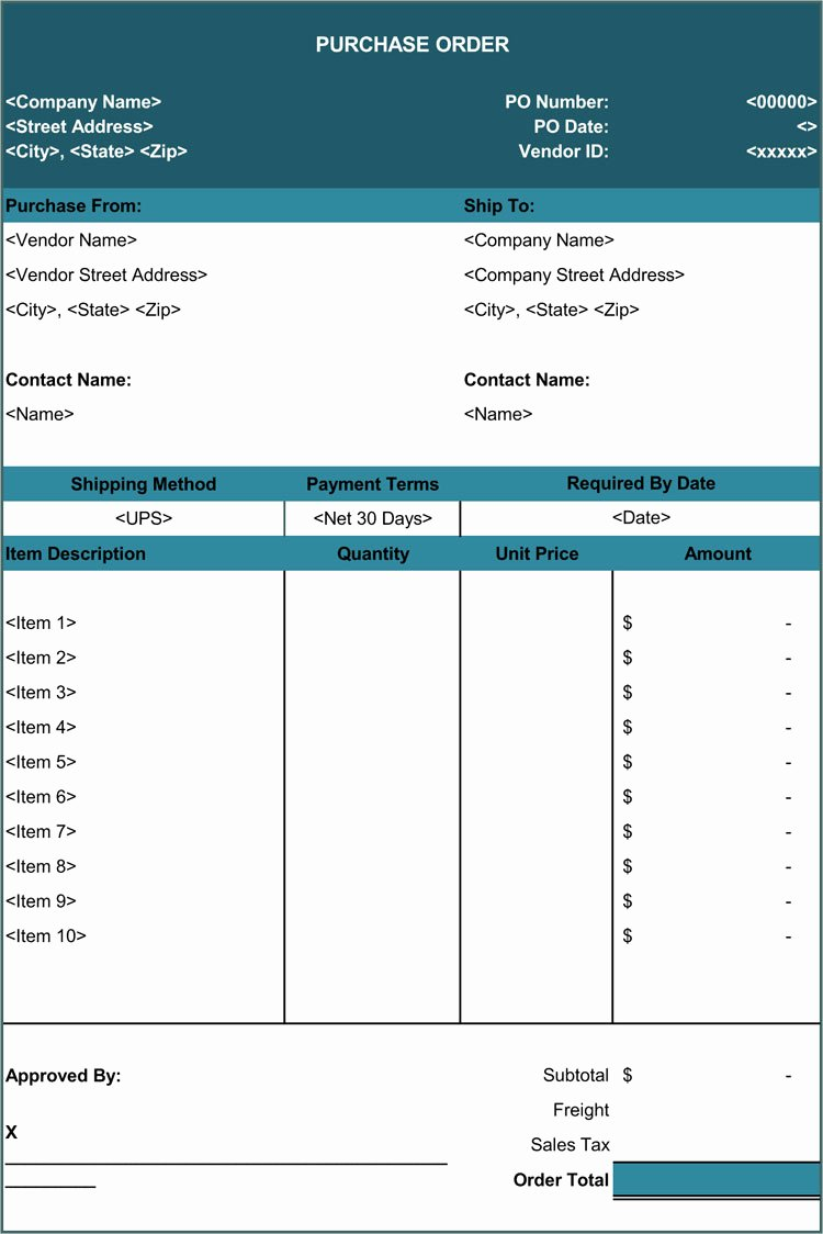 Excel Purchase order Template Luxury 40 Free Purchase order Templates forms