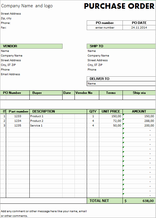 Excel Purchase order Template New Excel Template Free Purchase order Template for