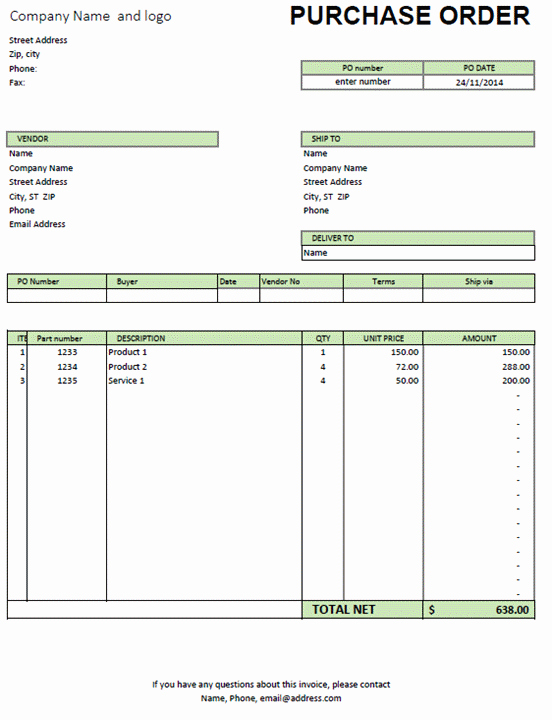 Excel Purchase order Template Unique Excel Purchase order Template