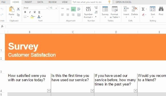 Excel Survey Results Template New Customer Satisfaction Survey Template for Excel