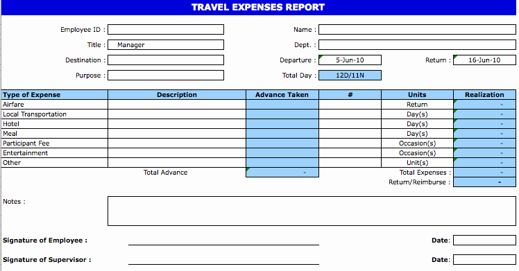 Excel Travel Expense Template Elegant Excel Template Expense Report