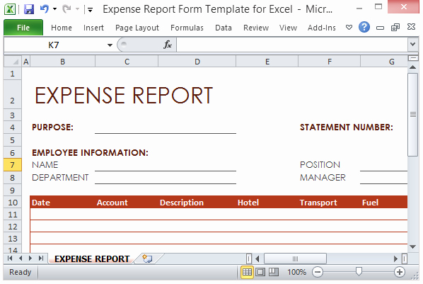 Excel Travel Expense Template Lovely Expense Report form Template for Excel