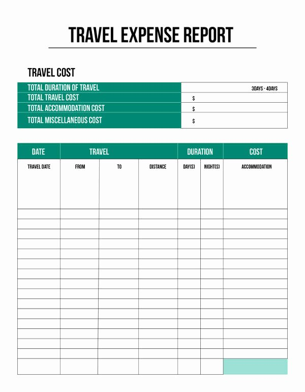 Excel Travel Expense Template Lovely Expense Report Template 11 Free Sample Example format