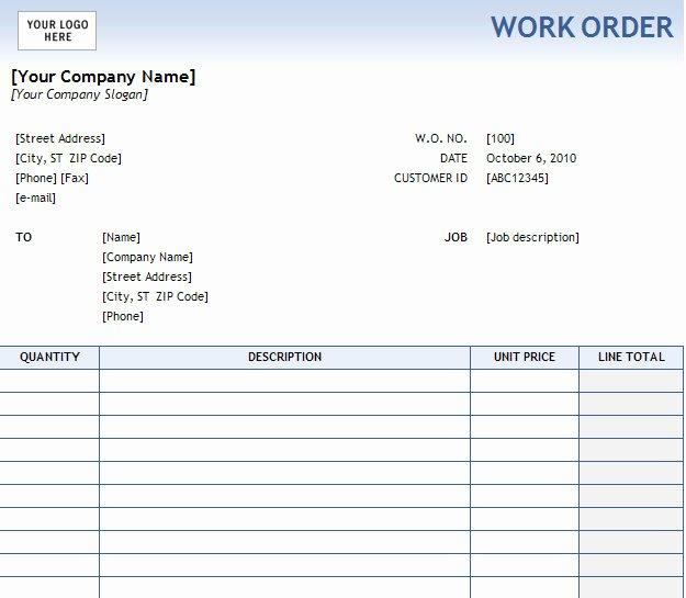 Excel Work order Template Inspirational Work order form