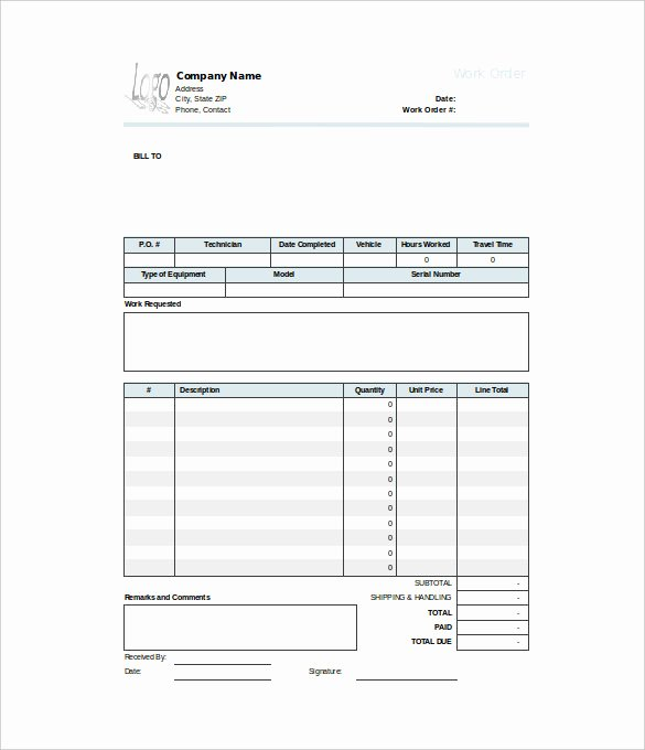 Excel Work order Template Lovely Work order Template 23 Free Word Excel Pdf Document