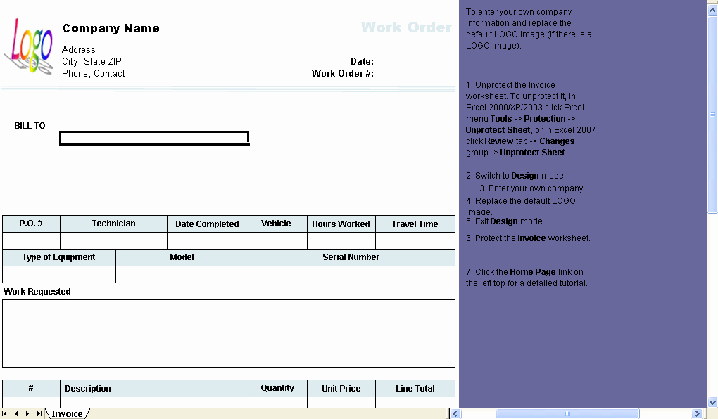 Excel Work order Template New Work order Template Uniform Invoice software