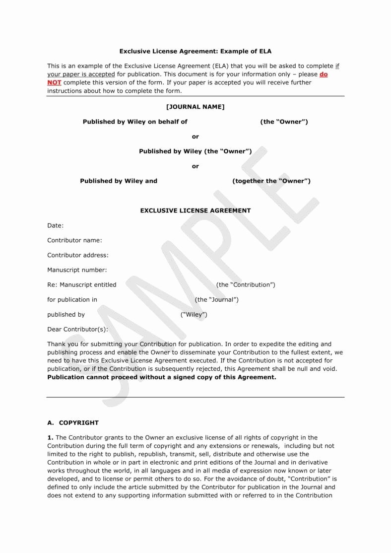 Exclusive License Agreement Template Inspirational 11 Exclusivity Agreement Templates Pdf Word Pages