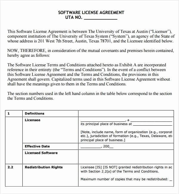 Exclusive License Agreement Template Lovely 6 Free software License Agreement Templates Excel Pdf