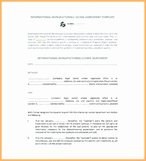 Exclusive License Agreement Template Lovely Exclusive License Agreement Template Royalty Trademark