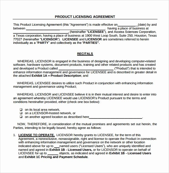 Exclusive License Agreement Template Luxury 8 License Agreement Samples Templates Examples