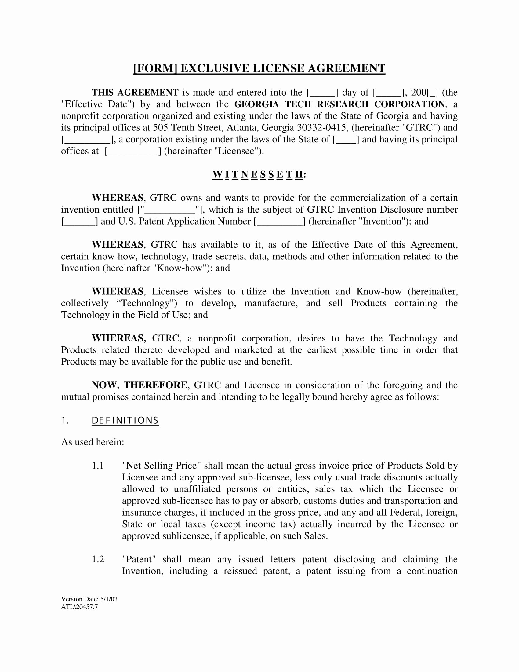 Exclusive License Agreement Template New 4 License Agreement Long forms Pdf