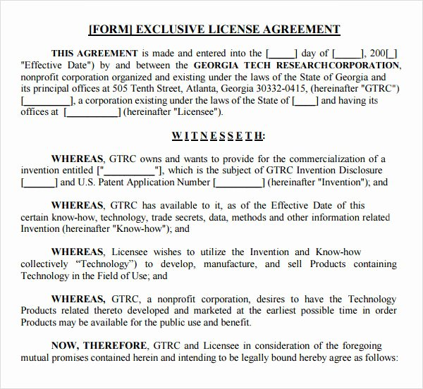 Exclusive License Agreement Template New Sample License Agreement Template 9 Free Documents In
