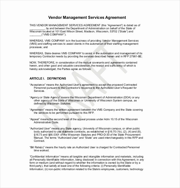 Exclusive Supplier Agreement Template Awesome 25 Sample Vendor Agreement Templates Pdf Doc