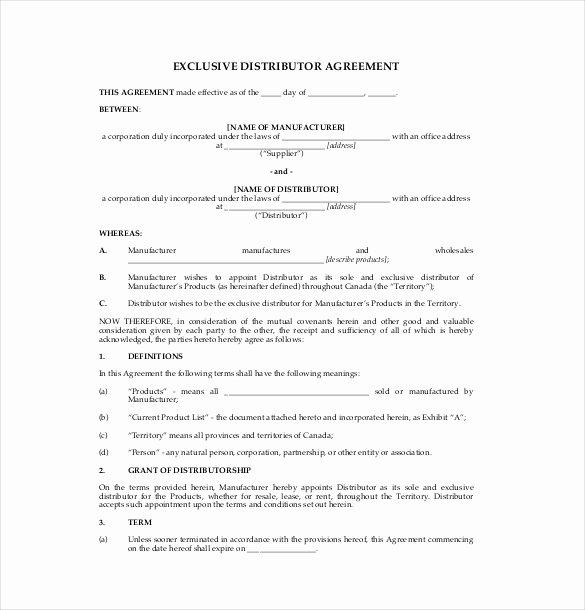 Exclusive Supplier Agreement Template Beautiful Exclusive Supply Agreement Template Free