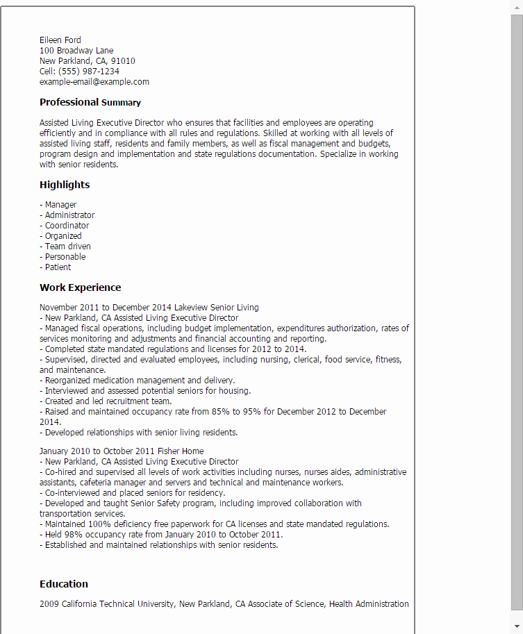 Executive Director Resume Template Fresh assisted Living Executive Director Resume Template — Best