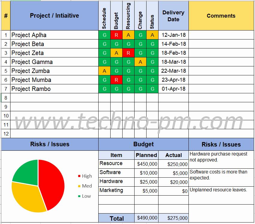 Executive Status Report Template Fresh Program Status Report Template Pm and Plm