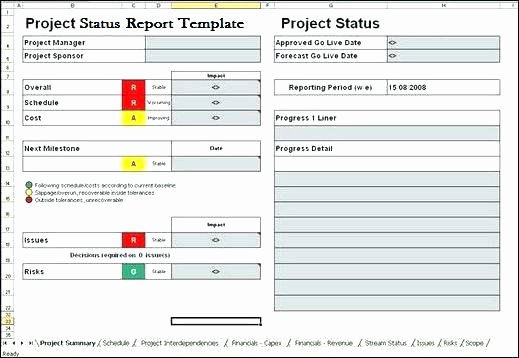 Executive Status Report Template Fresh Project Management Weekly Status Report Template Update