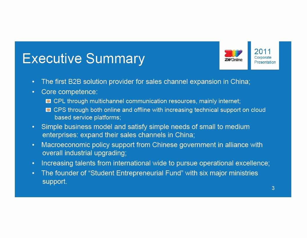 Executive Summary Powerpoint Template New Chinanet Line Holdings Inc form 8 K Ex 99 1 June