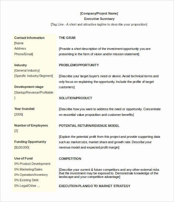 Executive Summary Template Pdf Lovely 31 Executive Summary Templates Free Sample Example