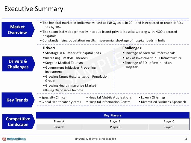 Executive Summary Template Ppt Best Of Hospital Market In India 2014 Sample
