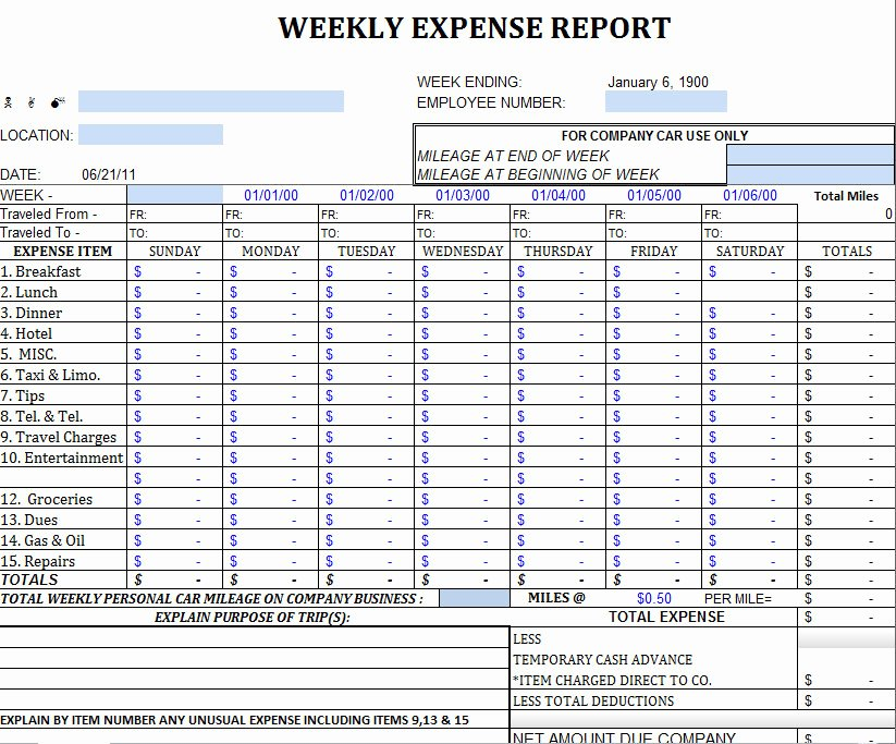 Expense Report Template Excel Beautiful Excel Expense Report Template