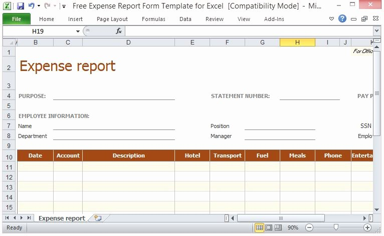 Expense Report Template Excel Best Of Free Expense Report form Template for Excel