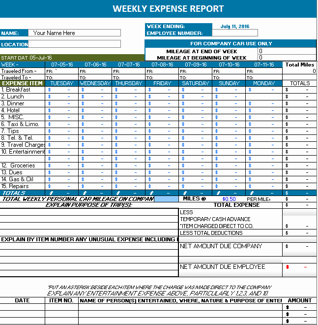 Expense Report Template Excel Lovely Ms Excel Weekly Expense Report