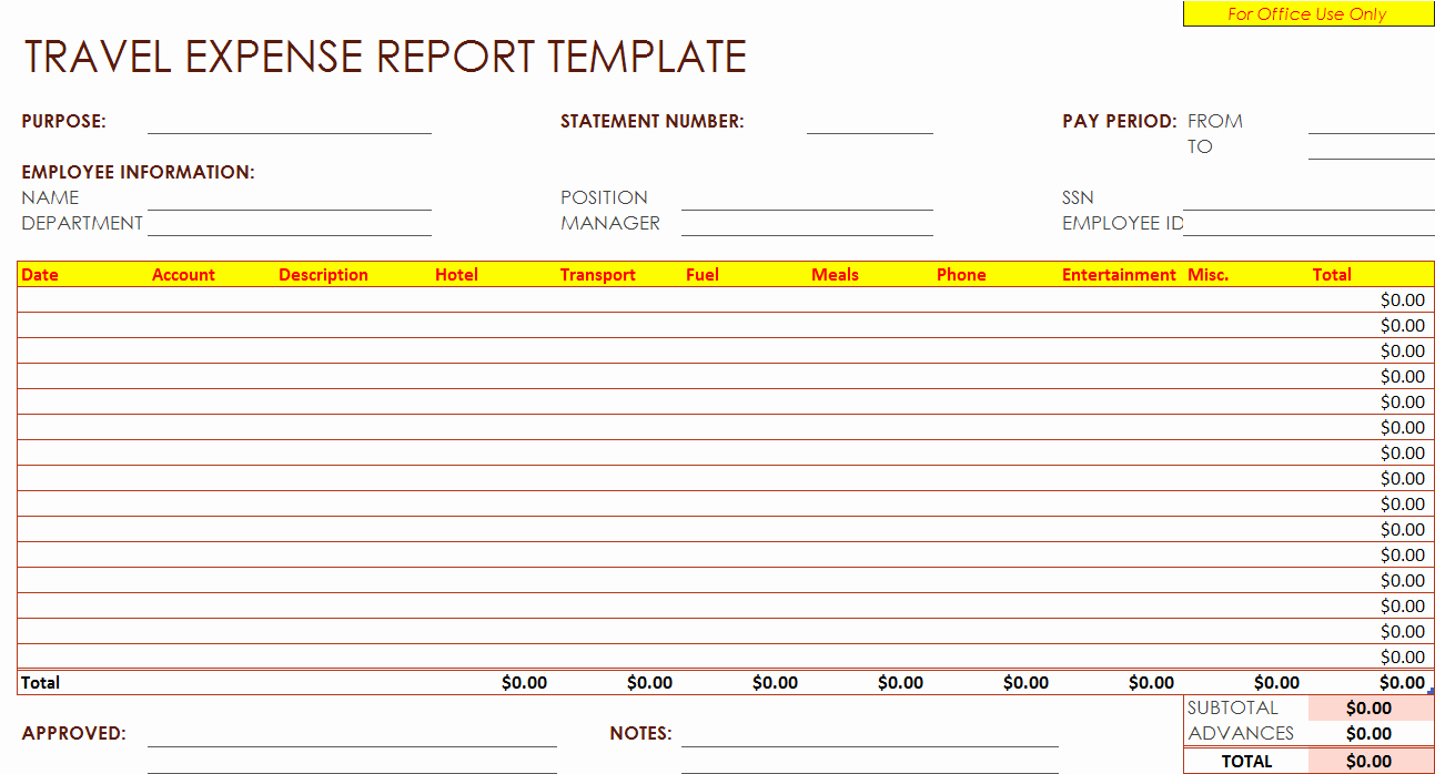 Expense Report Template Free Best Of Travel Expenses Report Template – Free Report Templates
