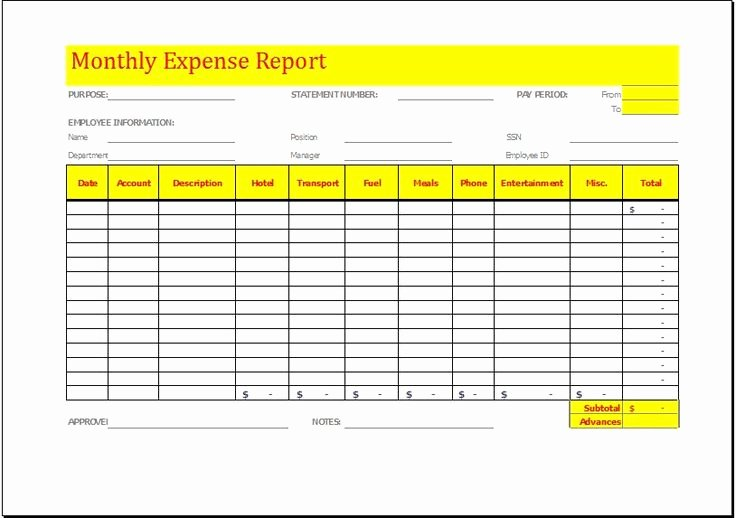 Expense Report Template Free Luxury Monthly Expense Report Template Download at
