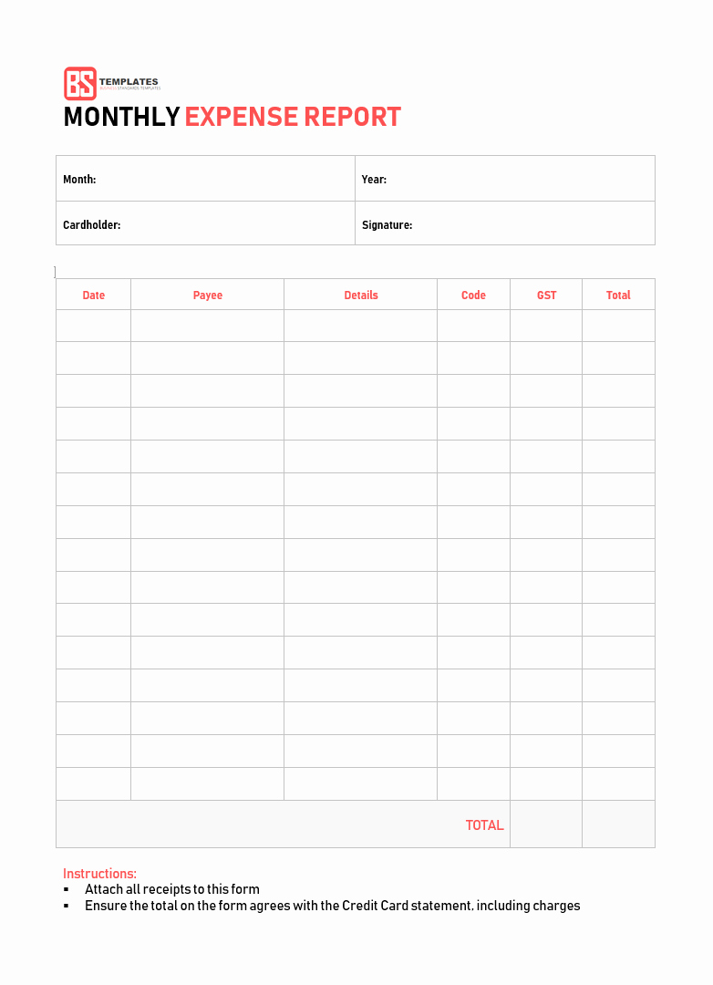 Expense Report Template Free New 10 Expense Report Template Monthly Weekly Printable